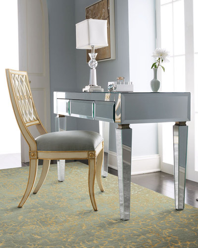 Mirrored Desk & Pillar Chair