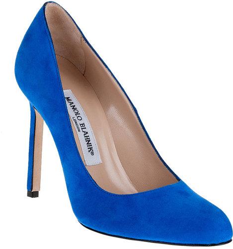 Manolo Blahnik BBR 105 electric blue suede pump