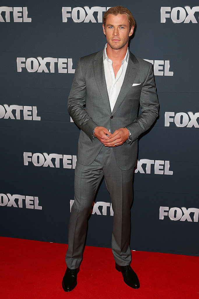Also at the Foxtel launch was a dapper-looking Chris Hemsworth, who brought his wife and baby daughter with him to Sydney for the event.