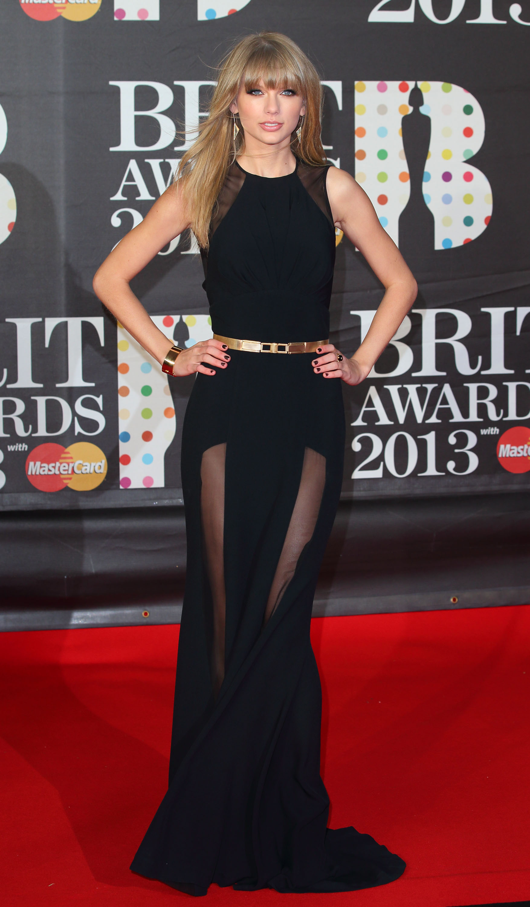 Taylor Swift wore Elie Saab at the Brit Awards in London.