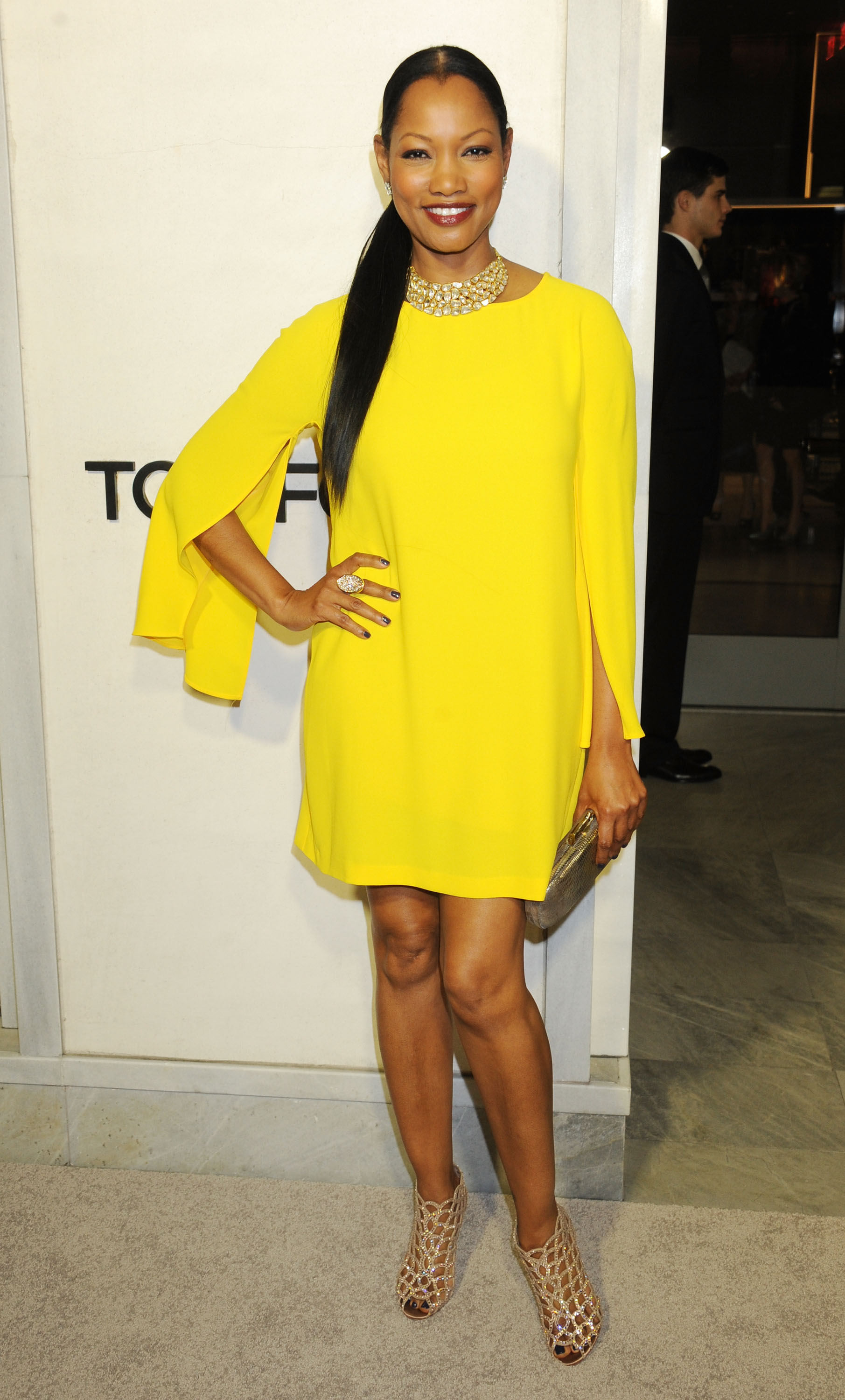 Garcelle Beauvais wore a yellow frock.