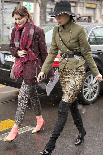 Intricate print and high-wattage footwear made these ensembles.