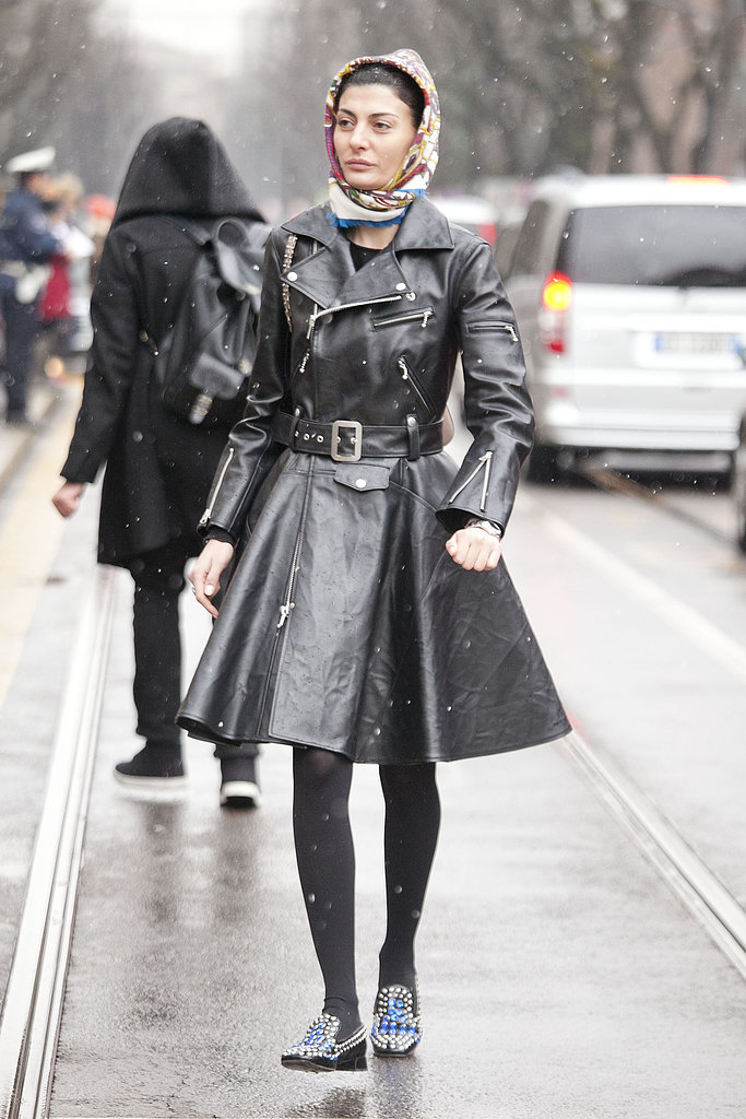 Giovanna Battaglia showed off an edgy moto coat with a femme fit-and-flare silhouette — not to mention a sweet pair of embellished loafers.