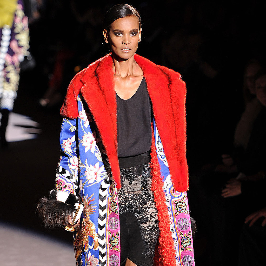 Tom Ford's first runway show did not disappoint with an abundance of embellishment and color.