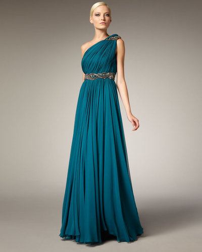 Marchesa Couture Grecian One-Shoulder Gown