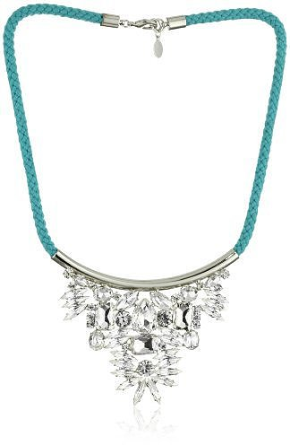 "nOir ""Jaipur"" Turquoise-Color Silver Crystal Triangle Collar Necklace"