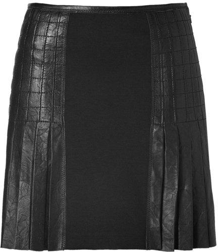 Catherine Malandrino Black Pleated Leather/Cotton Skirt