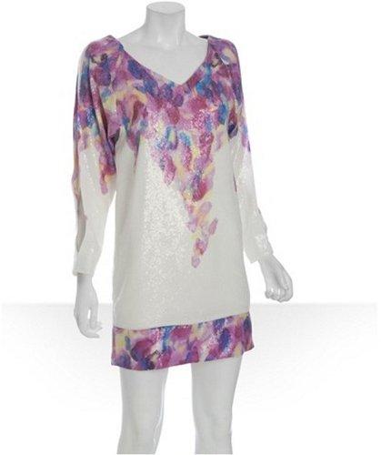 Diane Von Furstenberg white sequin floral 'Orchid' dress