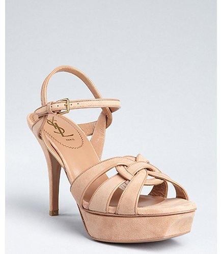 Yves Saint Laurent light clay suede 'Tribute' woven ring platform sandals