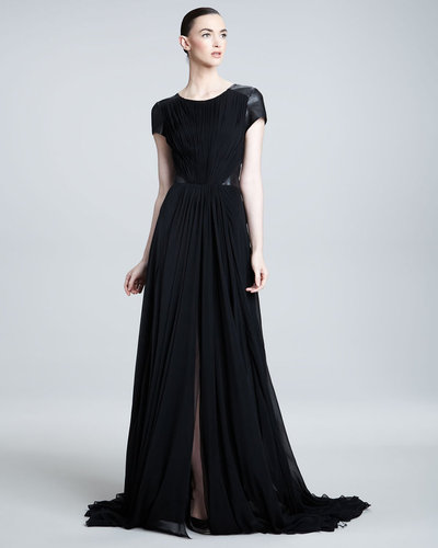Pamella Roland Leather-Inset Gown