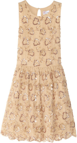 Red Valentino Embellished lace dress