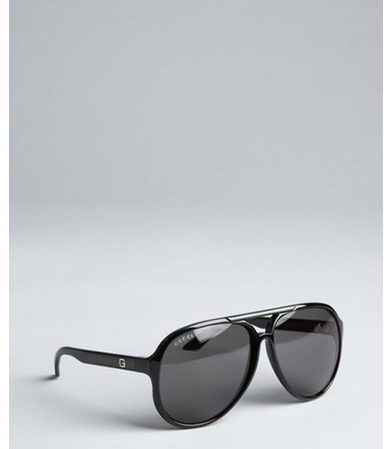 Gucci black acrylic web stripe aviator sunglasses