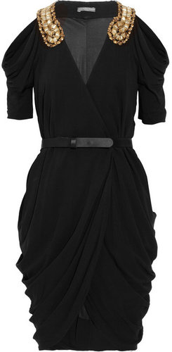 Alexander McQueen Embellished draped jersey dress