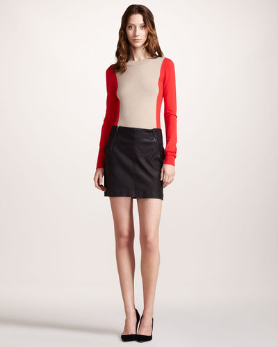 Theory Leather Skirt