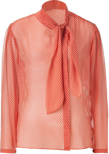 Raoul Red Diagonal Stripe Silk Top