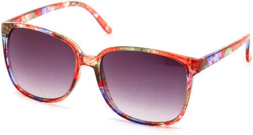 Floral-Print Plastic Sunglasses