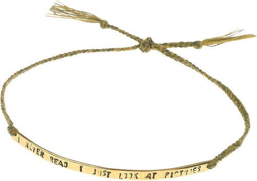 Mathias Chaize Engraved gold-plated cotton bracelet