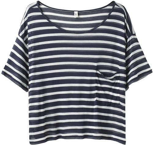 R13 / Striped Cropped Pocket Tee