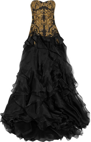 Alexander McQueen Embroidered silk-faille and organza gown