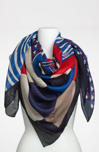 Tory Burch 'Collage Print' Silk & Wool Scarf