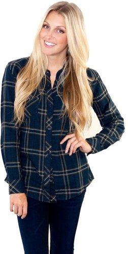 Rails Kendra in Navy and Olive Plaid Shirt
