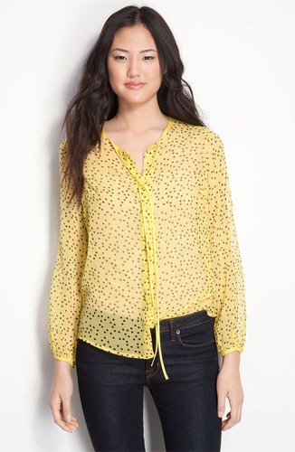 Bellatrix Sheer Polka Dot Silk Tie Neck Blouse
