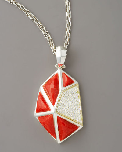 Kara Ross Faceted Coral Pendant Necklace, Large