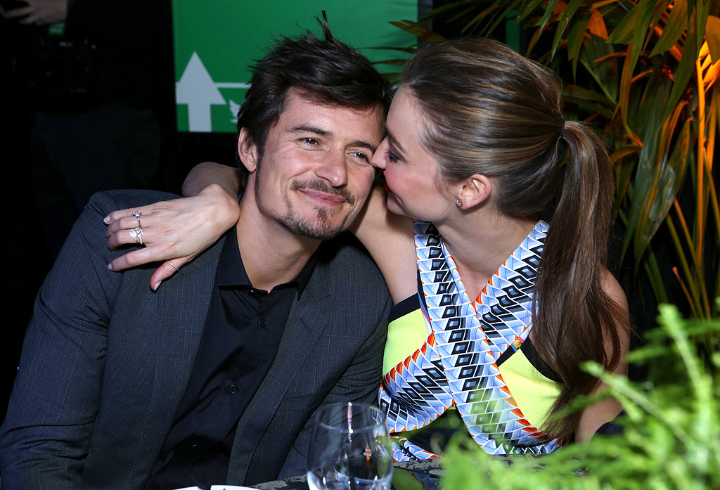 Genetically-blessed couple Miranda Kerr and Orlando Bloom looked to be madly in love at Global Green USA's 10th Annual Pre-Oscar Party on February 21.