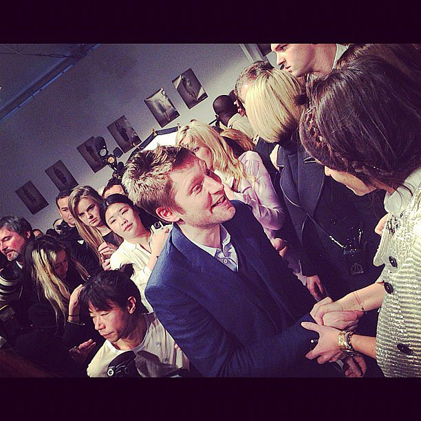 Mira Duma and Christopher Bailey (Burberry creative director) gave each other a warm hello backstage after the Burberry runway. Source: Instagram user miraduma