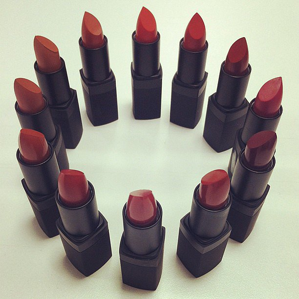 These 12 lipstick shades are from the very first Nars collection, released in 1994. Source: Instagram user narsissist