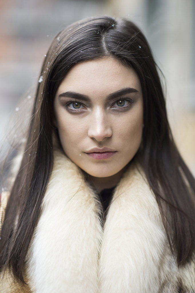 Bold brows and pin-straight hair made a striking look on model Jacquelyn Jablonski.  Source: Le 21ème | Adam Katz Sinding