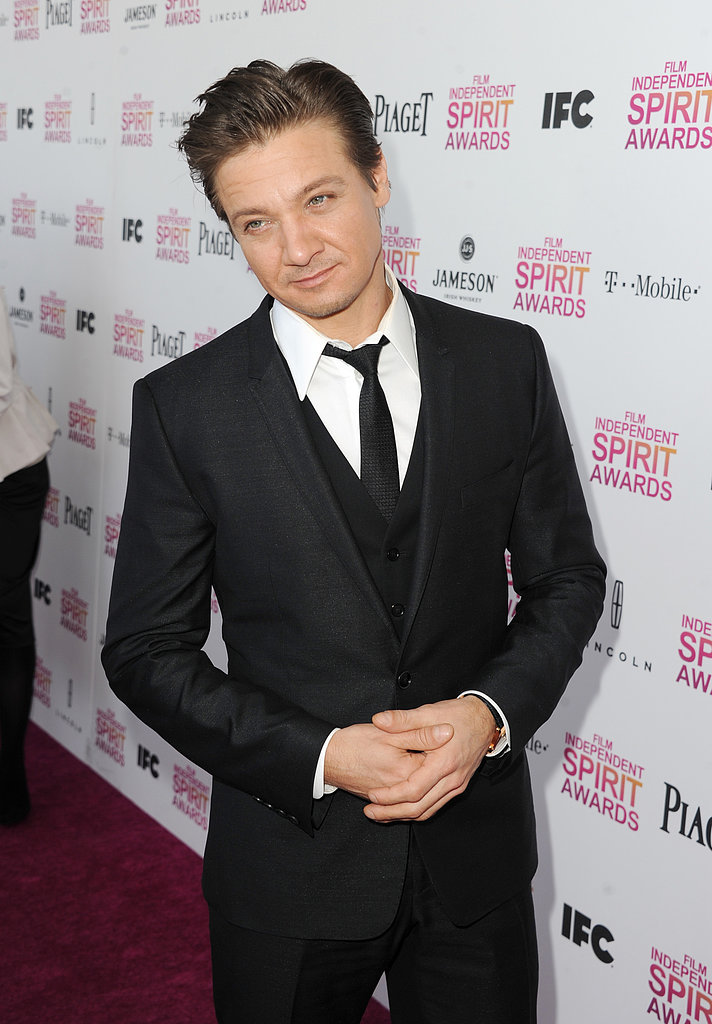 Jeremy Renner on the red carpet at the Spirit Awards 2013.