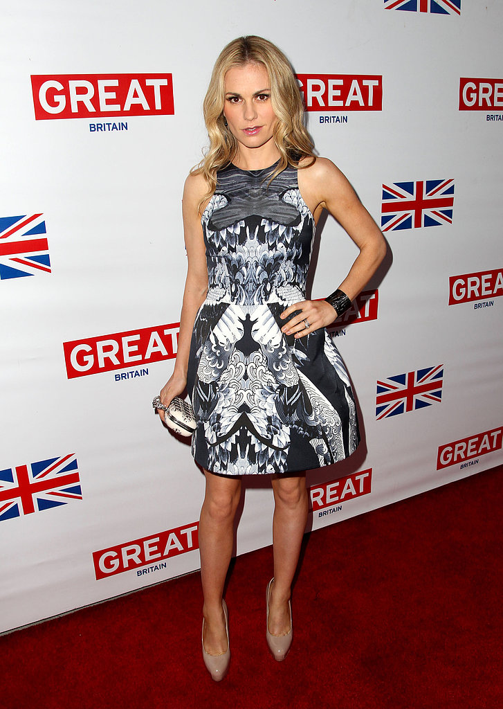 Anna Paquin picked a printed dress with a full skirt and nude Brian Atwood pumps for the Great British Film reception.