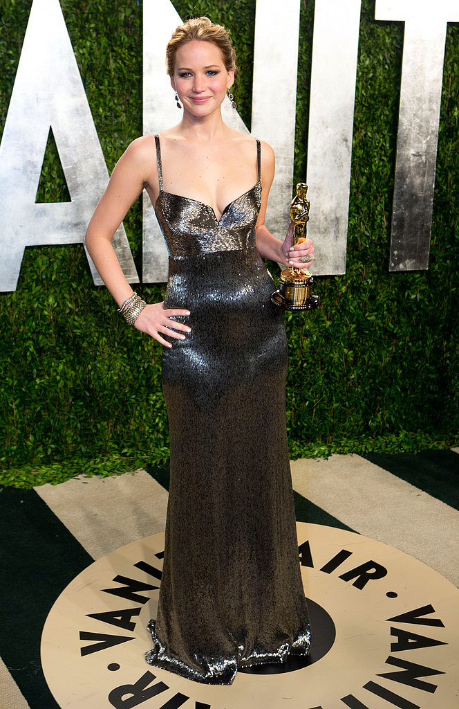 Jennifer Lawrence arrived at the Vanity Fair Oscars party.