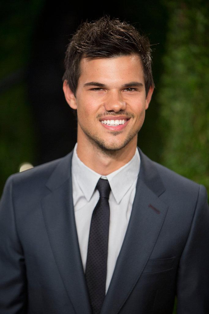Taylor Lautner arrived at the Vanity Fair Oscar party.