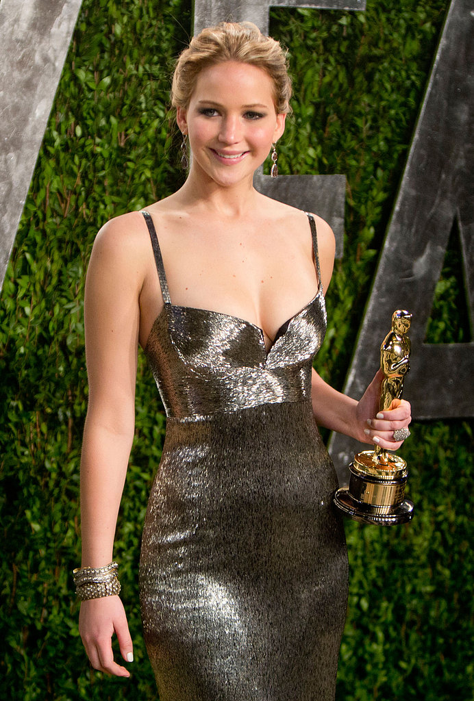 Jennifer Lawrence arrived at the Vanity Fair Oscar party.