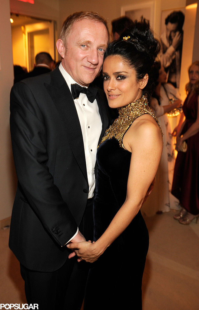 Francois-Henri Pinault and Salma Hayek cozied up to one another at Vanity Fair's Oscar afterparty.