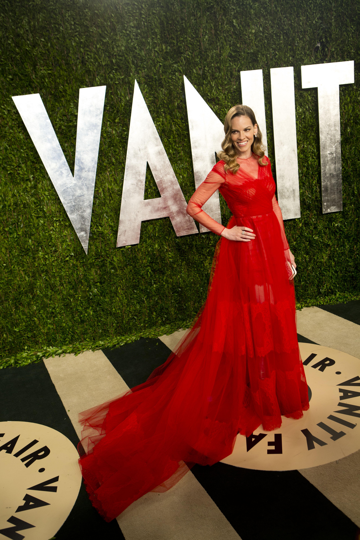 Hilary Swank arrived at the Vanity Fair Oscar party.