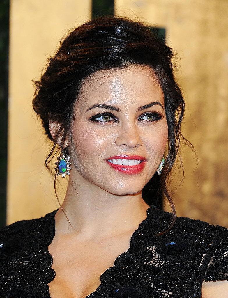 Mum-to-be Jenna Dewan-Tatum brightened her lace Rachel Roy gown with iridescent Irene Neuwirth opal and diamond earrings.