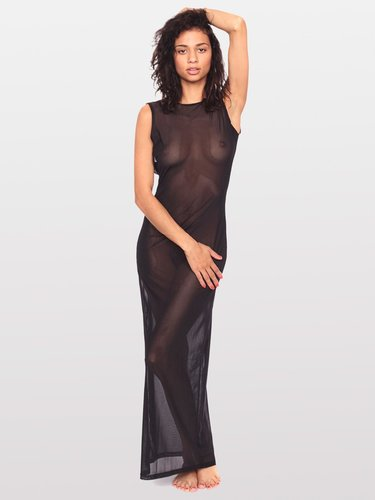 Micro-Mesh Long Scoop Back Dress