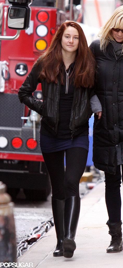 Shailene Woodley showed off her red hair on set.