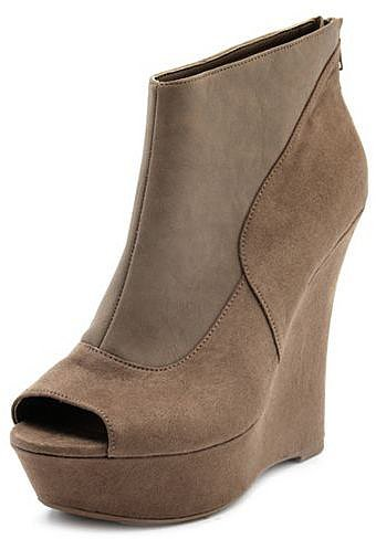 Pieced Peep-Toe Wedge Bootie
