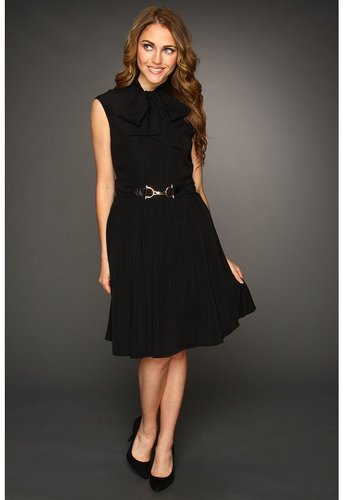 Ellen Tracy  Cap Sleeve Bow Tie Neck with Hardware