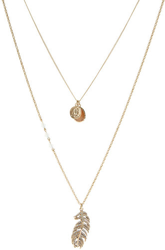 River Island Delicate Multi Row Feather Necklace
