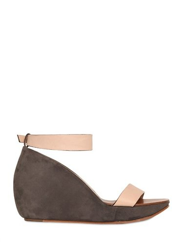 Chloe' - 120mm Nappa Leather And Suede Wedges