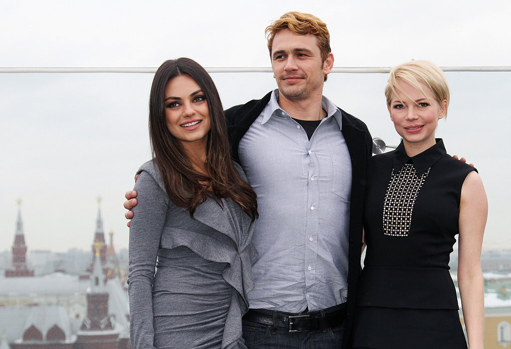 Mila Kunis, James Franco, and Michelle Williams posed for an Oz the Great and Powerful photocall in Moscow.
