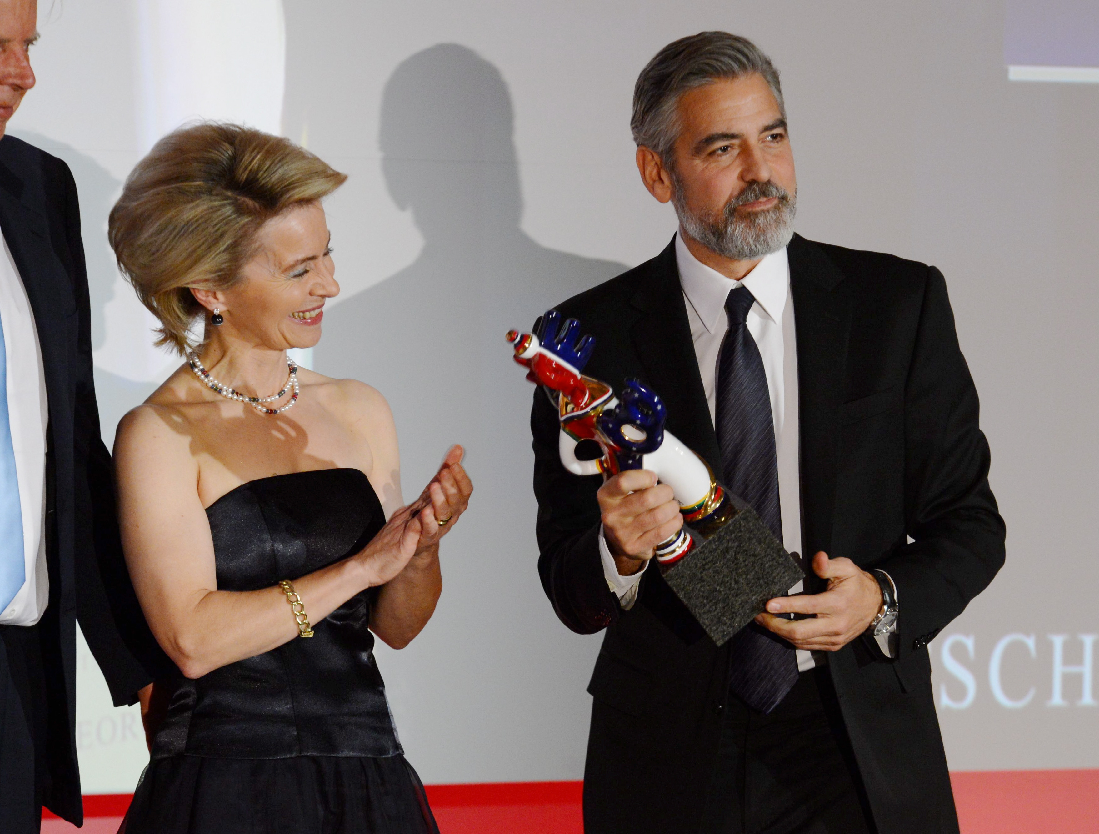 George Clooney accepted his award in Baden-Baden, Germany.