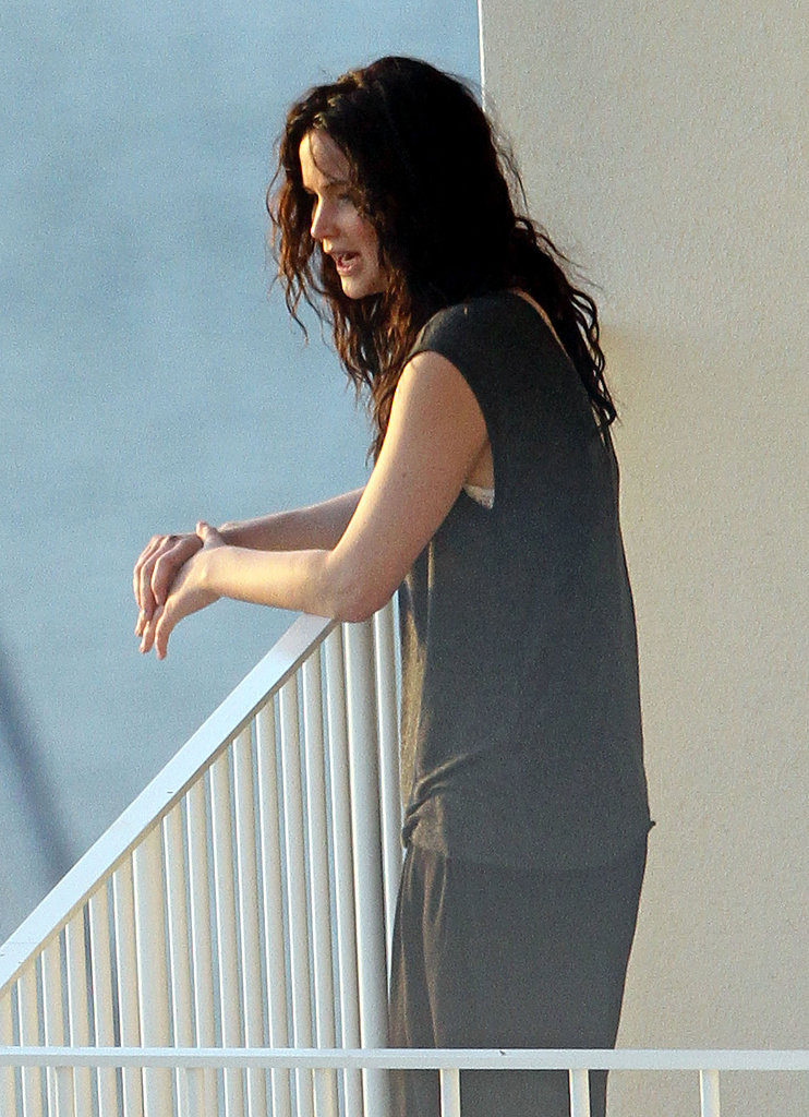 Jennifer Lawrence took in the view from her hotel balcony in Hawaii.