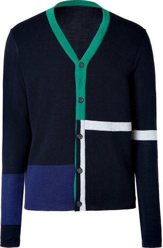 Jil Sander Navy-Multi Colorblock Wool Cardigan
