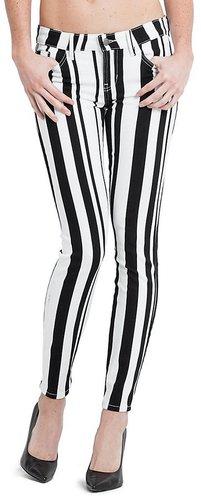 Brittney Striped Denim Leggings